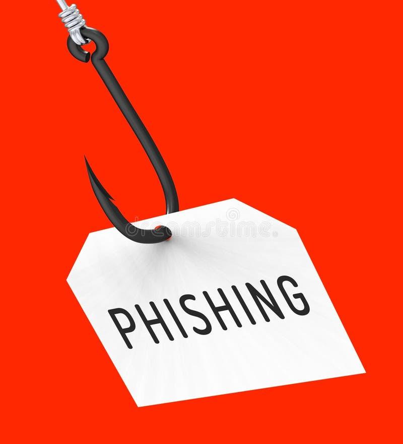 Tolkning för varning 3d för brott för Phishing krokidentitet royaltyfri illustrationer