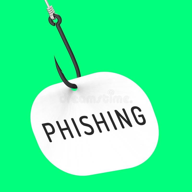 Tolkning för varning 3d för brott för Phishing krokidentitet stock illustrationer