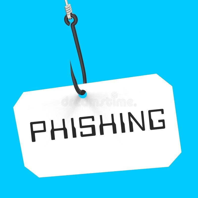 Tolkning för varning 3d för brott för Phishing krokidentitet vektor illustrationer