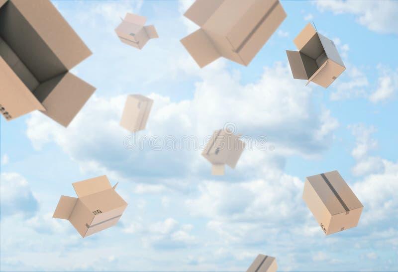 Tolkningen av öppen tom ljus beige papppost boxas att falla från den blåa molniga himlen royaltyfri illustrationer