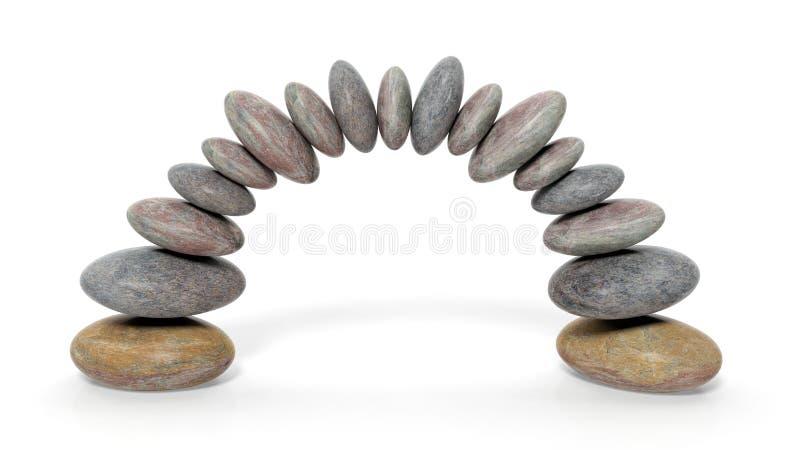 tolkningen 3D av att balansera stenar att bilda en båge vektor illustrationer