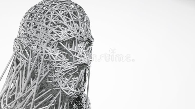 tolkningen 3d av cyborgframsidan på vit bakgrund föreställer konstgjord intelligens Framtida vetenskap, modern teknologi royaltyfri illustrationer
