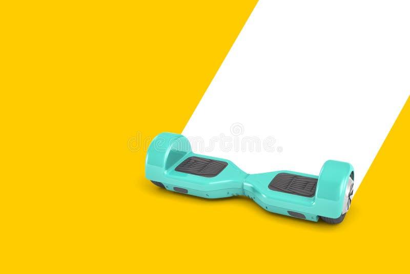 tolkningen 3d av den kulöra själven för mintkaramellen som balanserar brädedrev på en gul bakgrund och, lämnar en vit slinga vektor illustrationer
