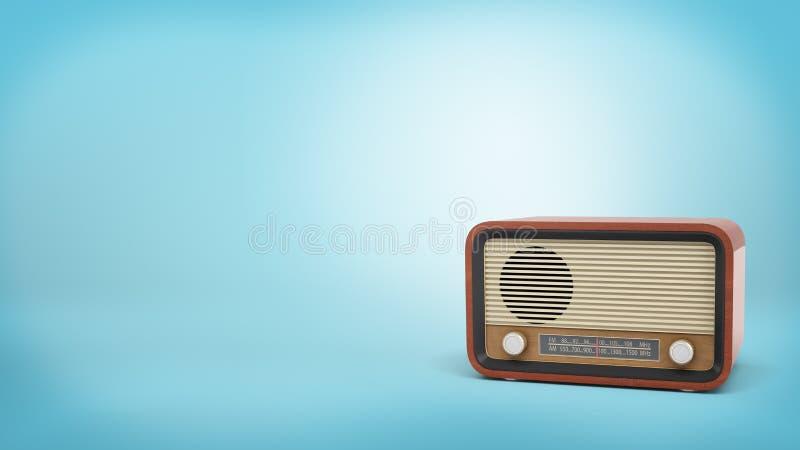 tolkningen 3d av denstil radiouppsättningen i brun färg med knoppar för en högtalare och stämmarestår på blå bakgrund royaltyfria bilder