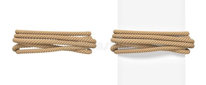 tolkningen 3d av det bruna repet begränsar runt om en bred vit stolpe och runt om tomt utrymme vektor illustrationer