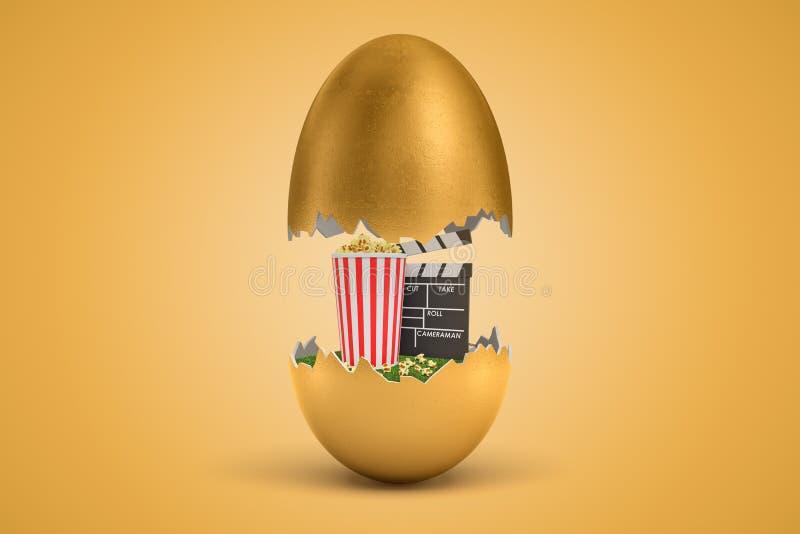 tolkningen 3d av det guld- ägget knäckte itu, övre - halvan som in får att sväva i luft, popcornhinken och clapperboarden på grön stock illustrationer