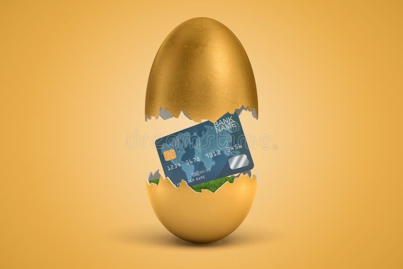 tolkningen 3d av det guld- ?gget kn?ckte itu, den ?vre- halvan som f?r att sv?va i luft, plast- kreditkort p? gr?nt gr?s i l?gre  arkivbilder