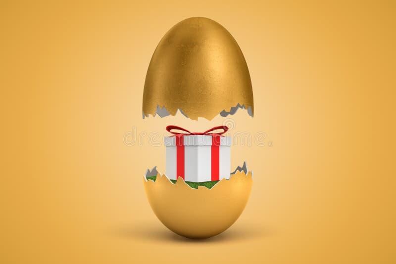 tolkningen 3d av det guld- ägget knäckte itu, lägre - halvan med den härliga gåvaasken på grönt gräs inom, övre - halva i luft, p royaltyfri illustrationer