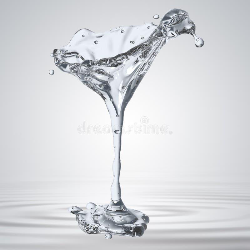 tolkningen 3D av det martini exponeringsglaset med vatten tappar stock illustrationer
