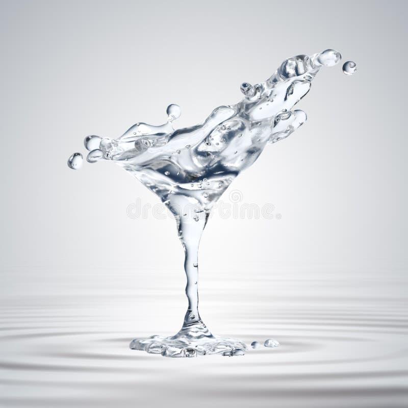 tolkningen 3D av det martini exponeringsglaset med vatten tappar royaltyfri illustrationer