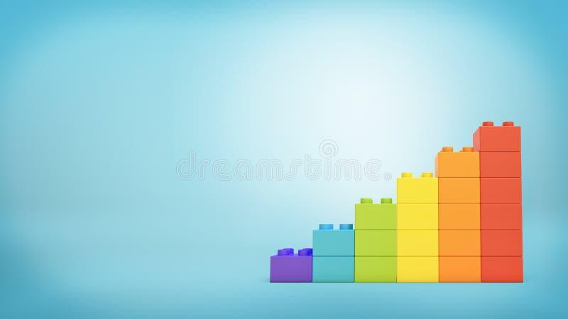 tolkningen 3d av en bunt av kvarter för leksakkvarterbyggnad som göras för att se som en stege i regnbåge, färgar stock illustrationer