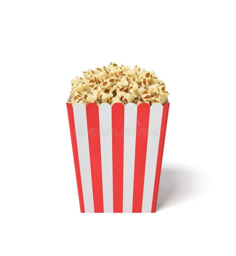 tolkningen 3d av en fyrkantig randig popcornhink fyllde med detta mellanmål över brättet på en vit bakgrund vektor illustrationer