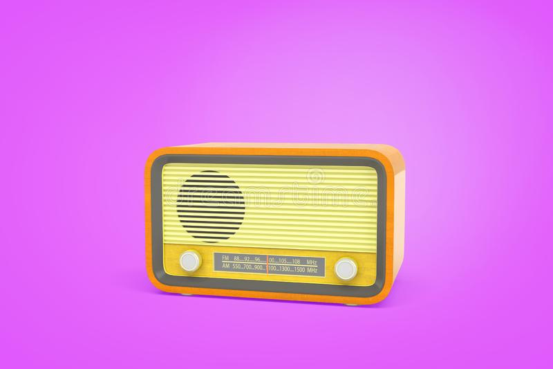tolkningen 3d av en gul retro radioenhet med en indikator för radiovåg och en roterande knopp står på en purpurfärgad bakgrund stock illustrationer