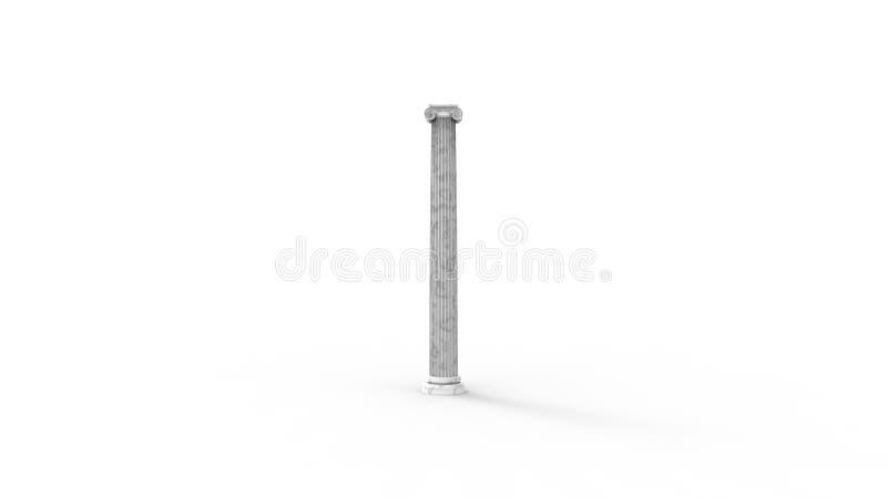 tolkningen 3d av en isolerad anchient grekisk kolonn är vit bakgrund royaltyfri illustrationer