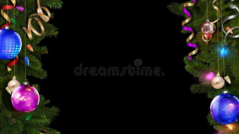 tolkningen 3D av en ljus festlig julram ska hjälpa att skapa en fantastisk magisk atmosfär stock illustrationer