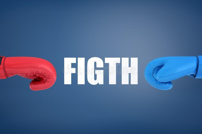 tolkningen 3d av en stor vit ordkamp står mellan två boxninghandskar av olika färger, röd och blå vektor illustrationer