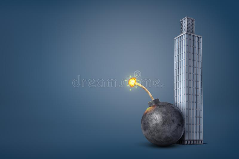 tolkningen 3d av ett jätte- järn bombarderar med tända ställningar för en säkring farligt nästan en högväxt kontorsbyggnad royaltyfri illustrationer