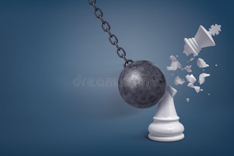 tolkningen 3d av ett jätte- järn som havererar bollen, slår en vit schackkonung och bryter den i halva royaltyfri illustrationer