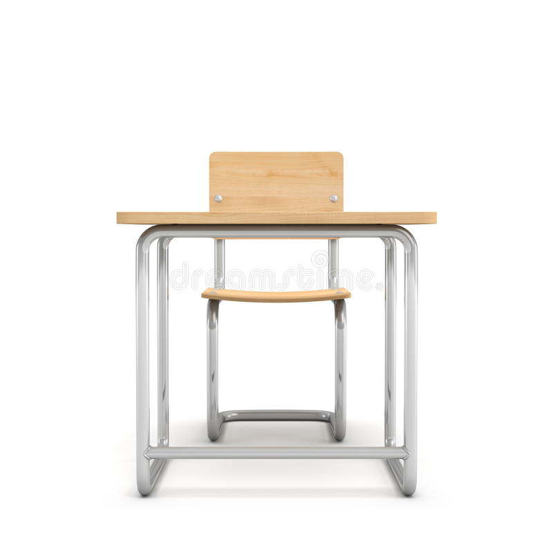 tolkningen 3d av ett skolaskrivbord och presiderar båda göras av isolerat järn- och ljusträ på vit bakgrund stock illustrationer