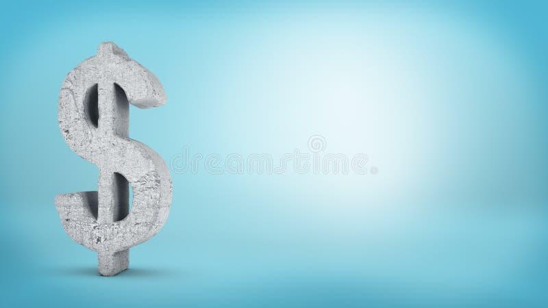 tolkningen 3d av ett stort konkret dollartecken med grov textur står i vänstra sidan av en blå bakgrund arkivfoton