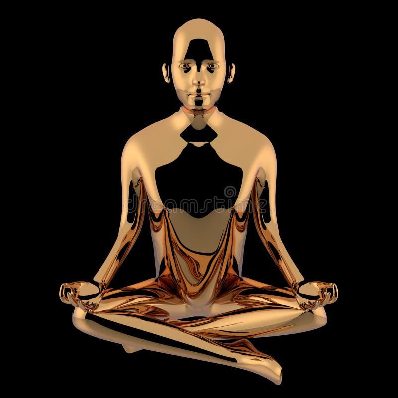 tolkningen 3d av guld- yogalotusblomma poserar mannen stiliserade diagramet stock illustrationer