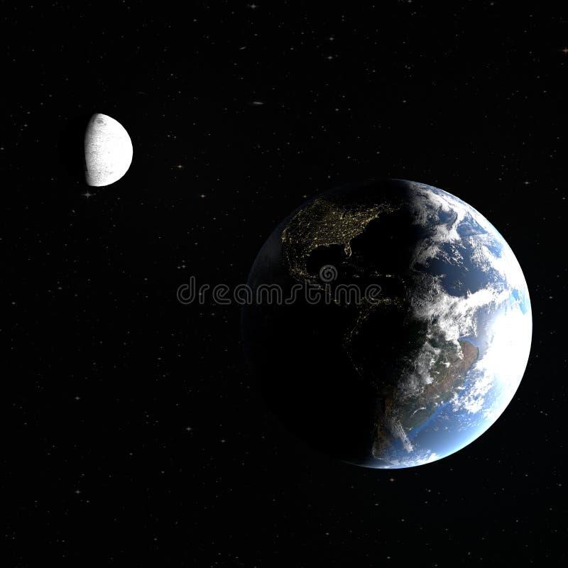 tolkningen 3d av planetjorden med nattstäderna av Amerika och månen som delvist är upplysta vid solen, beståndsdelarna, är stock illustrationer