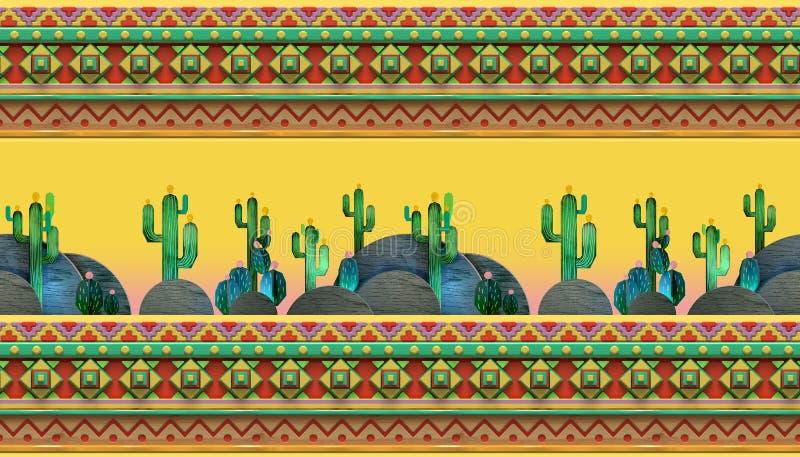 tolkningen 3d av tecknade filmen stiliserade det mexikanska temat, sömlös modell stock illustrationer
