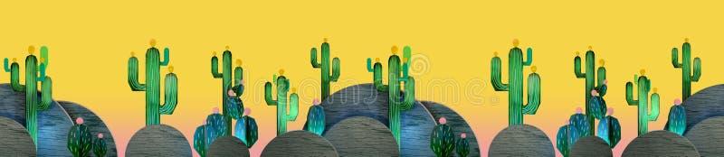 tolkningen 3d av tecknade filmen stiliserade mexikanskt tema med kakturs seamless modell stock illustrationer