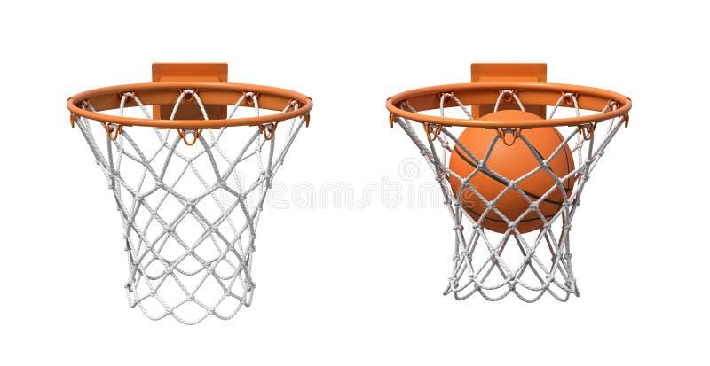 tolkningen 3d av två basket förtjänar med orange beslag, en som är tom, och en med en boll som inom faller arkivfoton