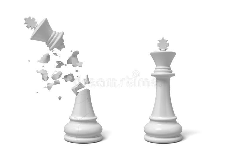 tolkningen 3d av två isolerade vita schackkonungar som ställningen nära de med ett av dem knäckte och brutet royaltyfri illustrationer