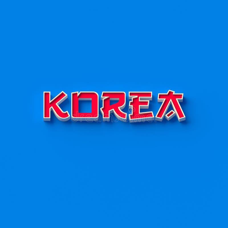 TOLKNINGEN 3D UTTRYCKER `-KOREA `, royaltyfri illustrationer