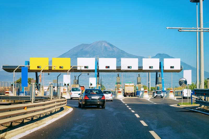Toll booth with Blank signs on the road in Italy royalty free stock photography