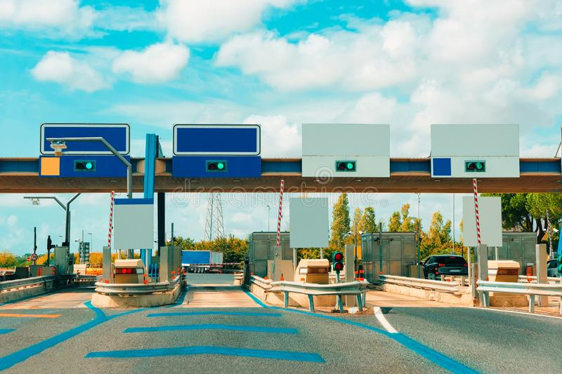 Toll booth with Blank traffic sign in the road royalty free stock photos