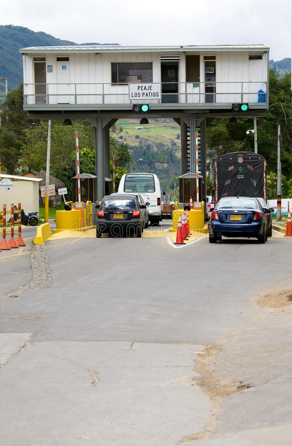 Toll booth on highway in Bogota Colombia stock image