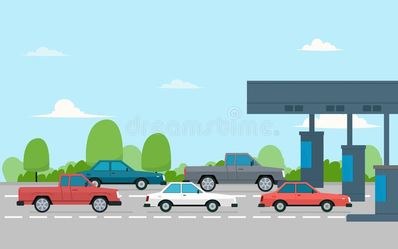 Toll plaza with cars stock illustration