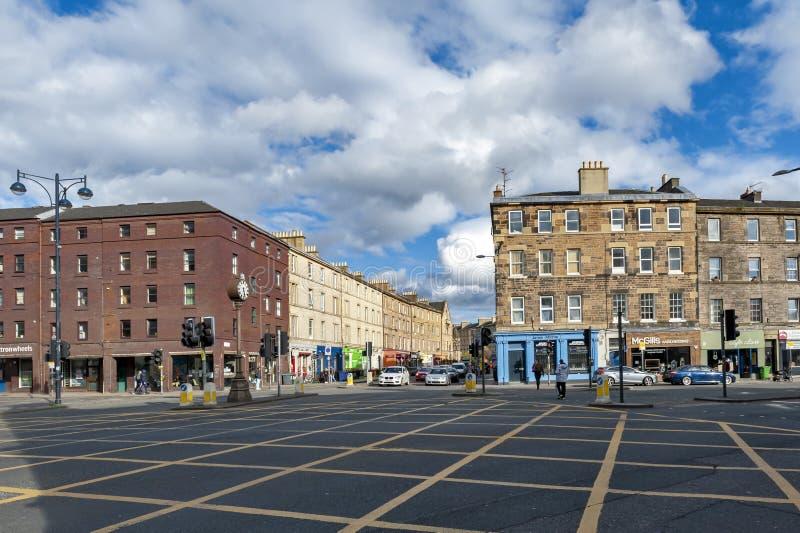 Tollcross, een belangrijke wegverbinding aan het zuidwesten van het stadscentrum van Edinburgh in Schotland, het UK stock afbeelding