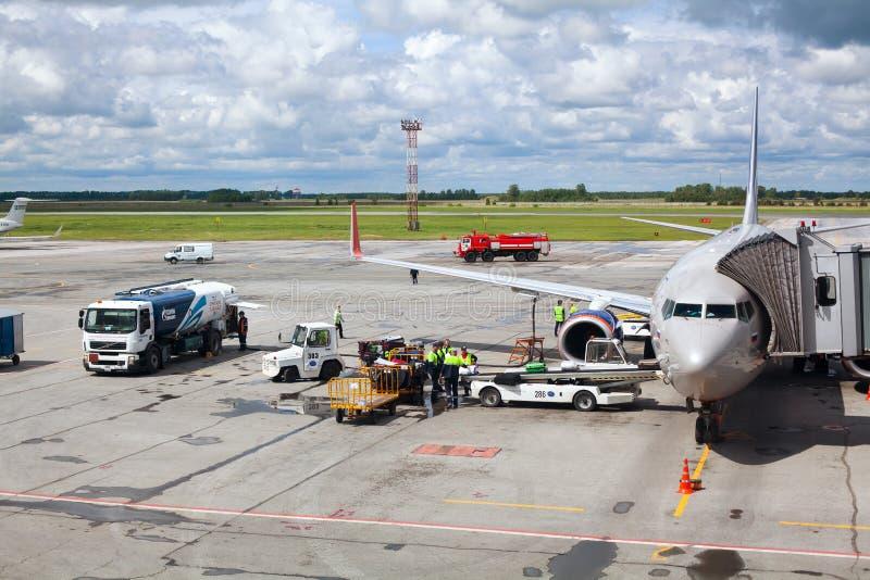 Tolmachevo Airport, ground handling services of airplane Boeing 737-800 named after N. Leskov, Aeroflot Airlines. NOVOSIBIRSK, RUSSIA - June 9, 2019: Tolmachevo stock image