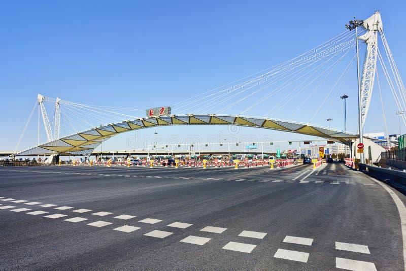 Tolpoort bij snelweg, Peking, China royalty-vrije stock foto's