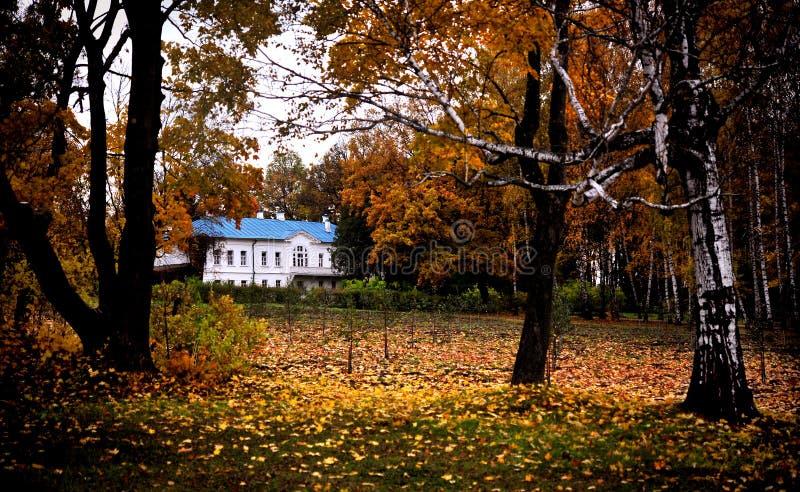 Tolstoy庄园, Yasnaya Polyana,秋天场面 库存照片