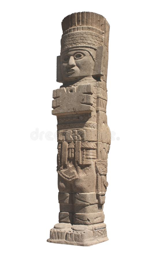 Toltec Atlant, Tula de Allende, Mexico. Famous Toltec Atlant - columns on top Pyramid of Quetzalcoatl, Tula de Allende, Hidalgo state, Mexico. UNESCO world royalty free stock photography