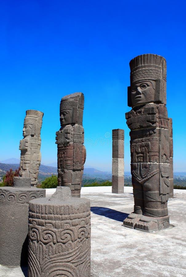 Toltec Atlantes, Tula de Allende, estado do fidalgo, México imagens de stock royalty free