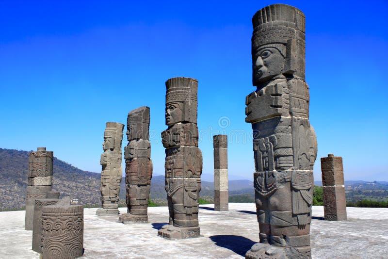 Toltec Atlantes, Tula de Allende, estado do fidalgo, México fotos de stock royalty free
