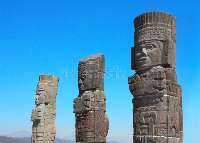 Toltec Atlantes, Tula de Allende, estado do fidalgo, México fotografia de stock royalty free