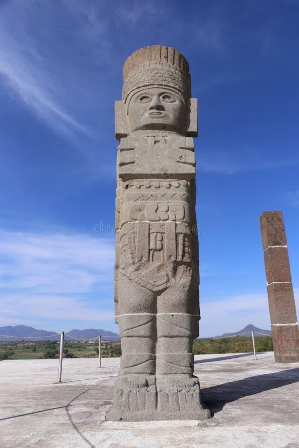 Toltec-Krieger in Tula - Mesoamerican archäologische Fundstätte, Mexiko stockfotos