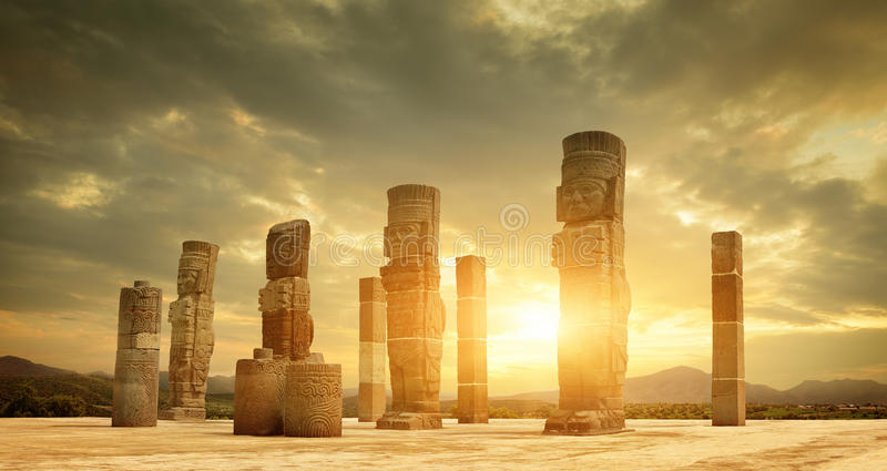 Toltec Sculptures in Tula, Mexico, stock image