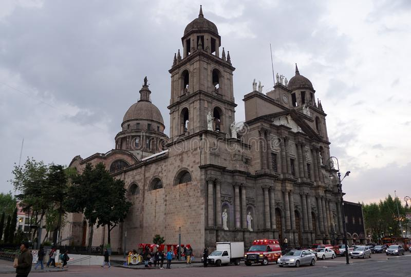 Toluca mexico cathedral side view. Side view of the catholic cathedral in Toluca mexico, historic building at the centre of the capital of the state of mexico royalty free stock image