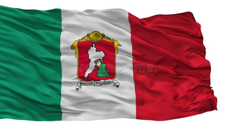 Toluca stadsflagga, Mexico som isoleras på vit bakgrund stock illustrationer