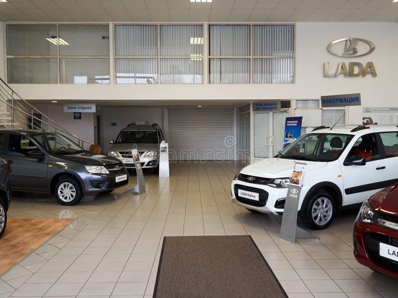 TOLYATTI, RÚSSIA - 6 de março de 2016: Centro do carro imagem de stock