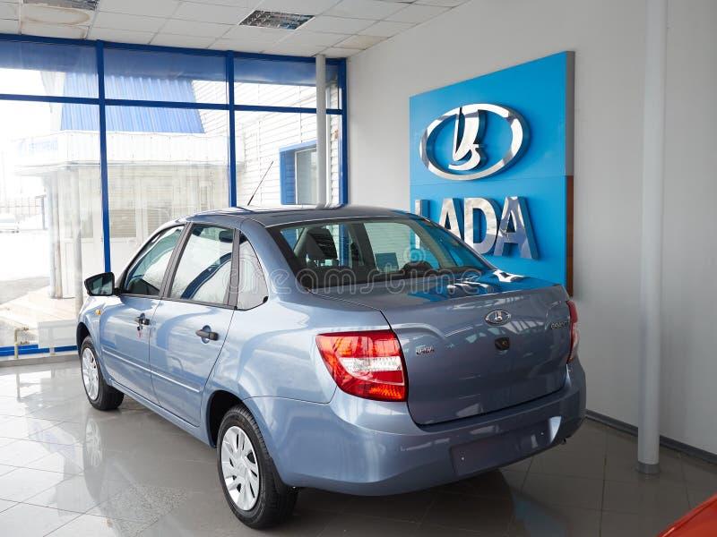 TOLYATTI,RUSSIA - March 6 2016: Car centre. Lada. New Russian Car Lada Kalina royalty free stock photography