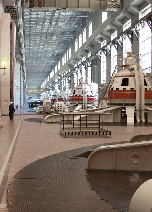 Tolyatti, Russia, September 08, 2005: Hydroelectric power station engine room. Water-power plant. Receiving of electricity stock image